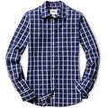 CQR Women's Classic Fit Button Up Shirts, 100% Cotton Long Sleeve Casual Poplin Shirt, Poplin(wol502) - Navy Windowpane, Medium