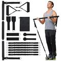 KaiSun Upgraded Home Gym Pilates Bar Kit with Resistance Bands,Portable Gym Home Workout,100-300LBS Anti-Breakage Adjustable Pilates Bar System,Home Gym Full Body Men&Women- Muscle&Fitness