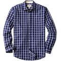 CQR Men's Regular Fit Long Sleeve Shirts, 100% Cotton Button-Up Casual Poplin Shirt, Poplin(tol503) - Navy Windowpane, X-Large