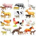 HOMNIVE Animal Figures 24 pcs 2-5 Inches Plastic Farm Animal Toys for Cupcake Toppers, Learning Educational Toys, Birthday Gift for Kids Toddlers Collector