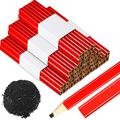 80 Pieces Carpenter Pencils Medium Hard Natural Wood Cased Pencils, Quality Flat Wood Octagonal Red Hard Black Lead Pencils for Professional Use Office School Supplies