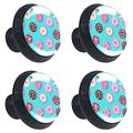 Round Door Cabinets Knobs(4-Pack),Donuts Seamless Pattern,Modern Dresser/Drawer/Cupboard Knobs and Handles,Durable