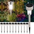 GYZJ Solar Lights Outdoor 10 Pack Stainless Steel Outdoor Solar Lights Waterproof LED Landscape Lighting Solar Powered Outdoor Lights Solar Garden Lights for Pathway Walkway Patio Yard Lawn-Cool White