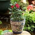 UimimiU Ceramic Flower Pot Outdoor Indoor Planter Fluted Plant Pot Garden Planter Plant Pot for Villa Corridor Aisle Colorful Planter Garden Mosaic Ceramic Bonsai Pot Outdoor Large