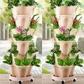 2 Groups 6-Layer Stackable Garden - Stand Stacking Planters Strawberry Planting Pots with Saucer - for Vegetable Flower Plants - Self Watering Garden Tower for Indoor Outdoor Balcony Patio Porch