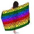 LGBT Pride Rainbow Colored Love Hearts Sarong Wraps for Women Beach Swimsuit Cover Up Plus Size Pareo Pool Party Shawl Wrap Skirt Scarf for Swimming Vacation Pool