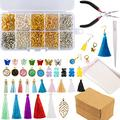 Earrings Making Supplies Kit,Deoot 1330 PCS Earrings Jewelry Making Kit with Earring Pendants,Earring Hooks,Jump Rings,Pliers,Earrings Holder Cards and Clear Bags for DIY Earring Supplies