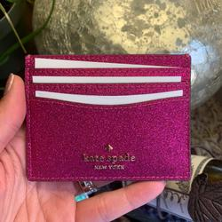 Kate Spade Accessories | Authentic Kate Spade Glitter Card Case In Gift Box | Color: Gold/Pink | Size: 3.0h X 3.9w