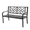 Winston Porter Suna Outdoor Garden Bench Park Yard Outdoor Furniture Cast Iron Porch Chair, Steel Frame Furniture For YardMetal in Black   Wayfair