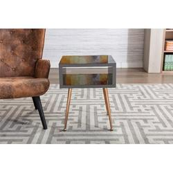 Everly Quinn MIRROR END TABLE MIRROR NIGHTSTAND END&SIDE TABLEStainless Steel in Black/Yellow, Size 23.22 H x 15.16 W x 17.91 D in | Wayfair
