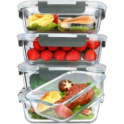 Prep & Savour [5-Packs, 36 Oz.] Glass Meal Prep Containers w/ Lifetime Lasting Snap Locking Lids Glass Food Containers,Airtight Lunch Container