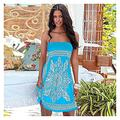 DingSORA Womens Beach Dress Sarong Bikini Swimsuit Cover Up Wrap with Easy Built-in Ties (Color : Blue, Size : L)