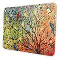 Loicwoo Mouse Pad, Tree Birds Jennifer Lommers Mouse Mat, Cute Mouse Pad with Design, Non-Slip Rubber Base Mousepad with Stitched Edge, Waterproof Women Office Mouse Pads, Small Size 10 x 12 Inch