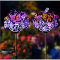 2Pcs Solar Garden Stake Lights Outdoor Decorative, Solar Powered Butterflies Lights Waterproof with 9 Butterflies , LED Solar Powered Lights for Patio, Garden, Yard Decoration (Multicolor Butterfly)
