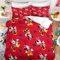 Kiusad Minnie Mouse Comforter Set Twin Size Kids 3D Cartoon Red Mickey Minnie Duvet Cover Bedding Set for Girls 2 Pieces 1 Duvet Cover 1 Pillowcase, No Comforter
