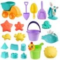 NUOBESTY Sand Molding Toys, 20pcs Summer Beach Toys Plastic Sand Molding Toys Play Sand for Sandbox Summer Beach Toy Set for Kids Toddlers|17 X 12. 5 X 10 cm
