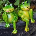 YAOLUU Garden Statues 2Pcs/Set Cute Resin Sitting Frogs Statue Outdoor Garden Store Decorative Frog Sculpture for Home Desk Garden Decor Ornament Outdoor Statues