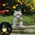 YAOLUU Garden Statues Outdoor Solar Frog Sculpture Resin Frog Animal Statue Garden Courtyard Home Decoration Villa Gardening Landscape Ornaments Outdoor Statues