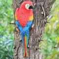 YAOLUU Garden Statues Resin Parrot Statue Wall Mounted DIY Outdoor Garden Tree Decoration Animal Sculpture for Home Office Garden Decor Ornament Outdoor Statues (Color : Red Right)