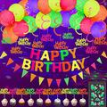 43 Pieces Glow Neon Birthday Party Supplies Decorations for Kids and Adults, 20 Glow Balloons/Neon Garlands/Neon Birthday Banner/ Triangle Flags/ Luminous Sticker/Cupcake Toppers for Glow Party
