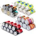 Jinamart Can Drink Holder Storage & Dispenser Bin for Refrigerator, Freezer, Countertop, Cabinets & Pantry - Pack of 4 - Holds Up To 9 Cans (7oz) - Beverage & Canned Food Organizer