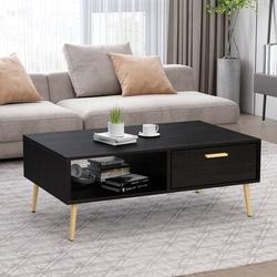 Mercer41 Mid-Century Boho Coffee Table w/ 1 Drawer & Storage Shelf For Living Room, 38.6 Inch Cocktail Table, TV Table, Rectangular Sofa Table