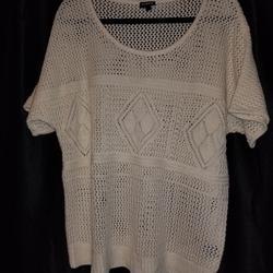 Torrid Sweaters | Nwt Torrid Ivory Crochet Ss Dolman Sweater | Color: Cream | Size: 0x