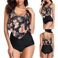 BHUI Women Two Piece Swimwear Plus Size Sexy Backless Halter Floral Printed Swimwear Solid Color Shorts Beachwear