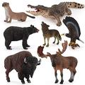 XIAOKEKE 7PCS Animal Figures Toy, Realistic Mini Jungle Zoo Animal Figurines Cake Topper Toy Set, Easter Egg Christmas Birthday Gift Party Favor School Project for Kids Toddlers