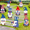 vipsung 9pcs 4th of July Yard Signs Independence Lawn Outdoor Decor Patriotic Gnomes Corrugated Yard Signs with Stakes for Garden Lawn Patio Porch, American Yard Sign (Style 1)-Style 1