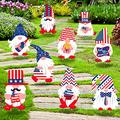 vipsung 9pcs 4th of July Yard Signs Independence Lawn Outdoor Decor Patriotic Gnomes Corrugated Yard Signs with Stakes for Garden Lawn Patio Porch, American Yard Sign (Style 1)-Style 2