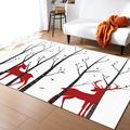 """Contemporary Area Rugs for Bedroom Living Room Kids Room - 2'7""""x5' Christams Forest Reindeer Pattern Modern Floor Carpet Low Profile Indoor Area Rugs"""