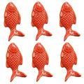 Red Drawer knob -6PCS Retro Simple Style Fish Shape Ceramic Door Knob Handle Pull Knobs Door Cupboard Handle for Drawer,Cabinet,Chest, Dresser, Bathroom,Cupboard, Etc with Screws