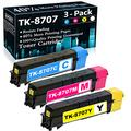 Compatible 3-Pack (1C+1M+1Y) TK-8707C 8707M 8707Y Toner Cartridge Replacement for Kyocera TASKalfa 6550ci 6551ci 7550ci 7551ci Printer Ink Cartridge