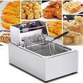 2500W Commercial Electric Fryer, 5.5L Easy Clean Fat Fryer With Timer And Temperature Control, Stainless Steel Universal Large Single Cylinder Deep Fryer With Basket