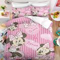 Haonsy 3D Cartoon Minnie Mouse Bedding Set Queen Size 3 Pieces Pink Mickey Minnie Theme Duvet Cover Set for Girls Bed Set Comforter Cover, 1 Duvet Cover + 2 Pillowcase