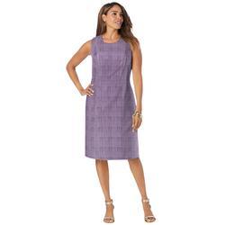 Plus Size Women's Bi-Stretch Sheath Dress by Jessica London in Dark Berry Ivory Glen Plaid (Size 14 W)