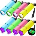 8 Pieces LED Glow in Dark Flashlights Rubber Coated Push Button Flashlights with Straps Portable Handy Lights Mini LED Flashlights with 9 LED Lights for Indoor, Outdoor (White Light, Purple Light)
