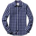 CQR Women's Classic Fit Button Up Shirts, 100% Cotton Long Sleeve Casual Poplin Shirt, Poplin(wol502) - Navy Windowpane, Large