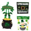 St. Patrick's Day Decorations (1) Hanging Welcome Wall Sign Door Sign, (1) Happy St Patricks Day Shelf Sitter, (1) 22 Piece Window Gel Clings, Happy Saint Patty Day Decoration, Leprechaun Theme