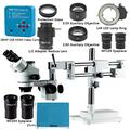 CHUNSHENN 3.5X 7X 45X 90X Trinocular Stereo Microscope Double Boom Stand Zoom Simul Focal+38MP Camera Microscope For Industrial PCB Repair (Color : White)
