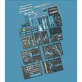 Hogert Technik Coffret outillage HT1R485 Coffret outils,Kit outils,Kit outillage,Set outils,Coffret clés à douille,Coffret clé à cliquet et douilles