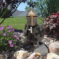 Knight Gnomes Guard Garden Decorations Outdoor Statues, Garden Art Outdoor for Fall Winter Garden Decor, Outdoor Statue for Patio, Lawn, Yard Art Decoration, Housewarming Garden Gift (B)