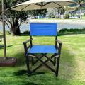 Arlmont & Co. Folding Chair Wooden Director Chair Canvas Folding Chair Folding Chair 2Pcs/Set Populus + Canvas Fabric in Blue/Black | Wayfair