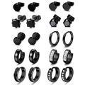 CASSIECA 10 Pairs Stainless Steel Earrings for Men CZ Stud Earrings Mens Earrings Hoop Huggie Earrings Set for Men Women Jewelry Piercing Cartilage Hoop Earrings, Black Tone