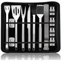 VIVID BBQ Grill Tool Set 22Pc w/ Case - Heavy Duty Extra Thick Stainless Steel Spatula, Size 15.2 H x 7.3 W x 2.1 D in   Wayfair 16YSY00077