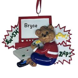 The Holiday Aisle® Video Game Bear Hanging Figurine Ornament in Brown/Red, Size 3.25 H x 4.25 W x 0.5 D in   Wayfair