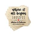 """Le Prise™ Personalized Coaster Set Of 4 - 4"""" Travertine Stone - Where It All Began Coasters, Customized Coaster Set For Wedding Present in Brown"""