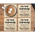 """Le Prise™ Personalized Coaster Set Of 4 - 4"""" Travertine Stone - Our New Beginning Coasters, Customized Coaster Set For Wedding Present in Brown"""
