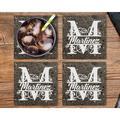 "Le Prise™ Personalized Coaster Set Of 4 - 4"" White Stone Monogram Coasters, Terrazzo Style White Stone Customized Coaster Set For Wedding Present"
